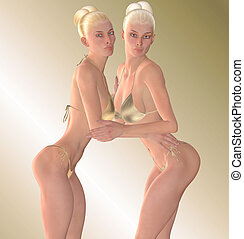Not Sisters - These blonde beauties spent their modeling...