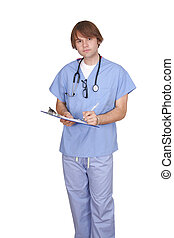 young male doctor or nurse - one man medical doctor guy in...