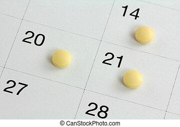 nacimiento, control, píldoras, calendario