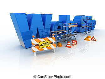 website under constructions - 3d illustration of words with...