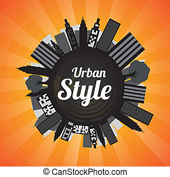 Urban Style - Urban style over orange background vector...