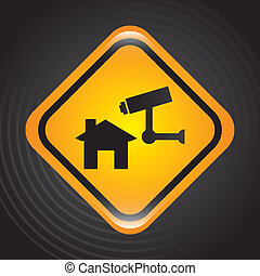 security system signal over black background vector...