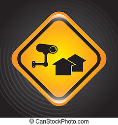 security system signal over black background. vector...