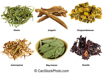 Assortment of Dried Herbal Tea from leaves, flowers,...