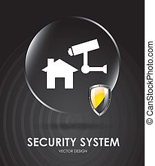 security system over black background vector illustration