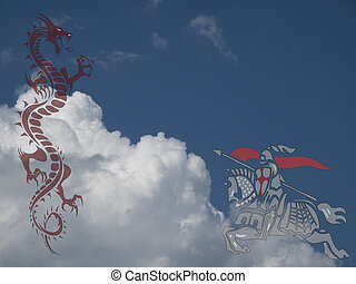 Saint George fighting the dragon against a cloudy blue sky