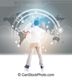 Man In Cyberspace,Technology Concept