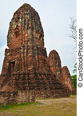 Damaged Pagoda in Wat Phra Mahathat, Ayutthaya, Thailand