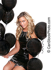 sexy woman and balloons - attractive woman with black...