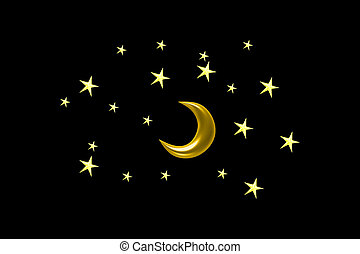 Illustration of a crescent moon surrounded by stars in the...