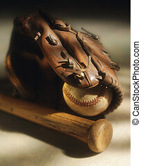 Baseball,bat and glove - Picture of Baseball,bat and glove