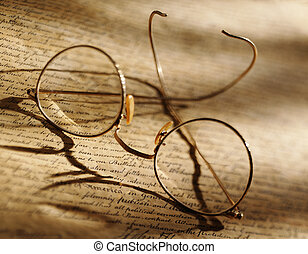 Glasses on print - Picture of Glasses on print