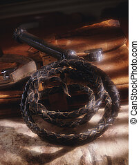 Whip,satchel and horseshoe - Picture of Whip,satchel and...