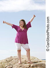 standing model - a young plus sized female model standing...