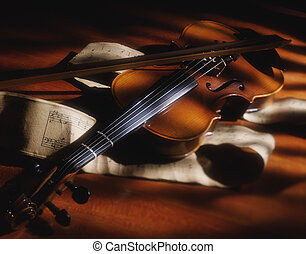 Violin streaked by light and shadow - Picture of Violin...