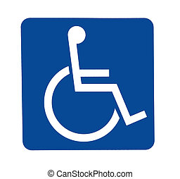 handicapped sign - a blue and white sign for handicapped...