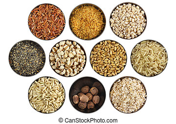 Assortment of wholesome ingredient in a stainless bowl - Red...