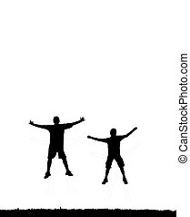 jumping people silhouette - two people jumping high in the...