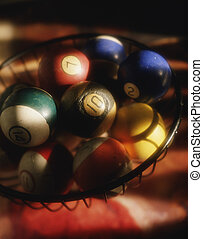 Billiard balls in a basket - Picture of Billiard balls in a...