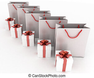 boxes with gifts and paper bags - 3d illustration of boxes...