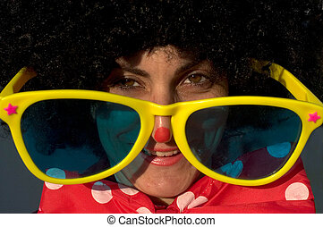 Purim Jewish Holiday - An Israeli woman dressed as a clown...