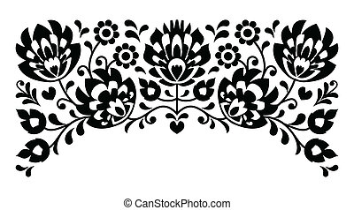 Polish floral folk embroidery b&w - Traditional vector...