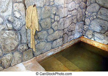 Judaism - Mikvah - QUMRAN, ISR - SEP 27:Ancient mikvah on...