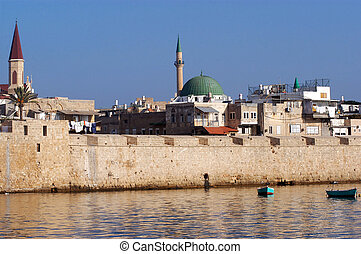 The wall of Acre in Akko Israel - View of the skyline and...