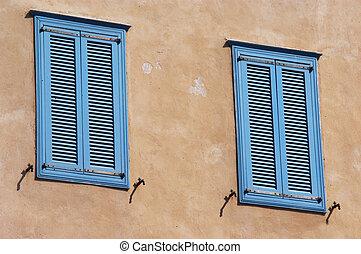 Mediterranean Windows - Two old blue Mediterranean blue...