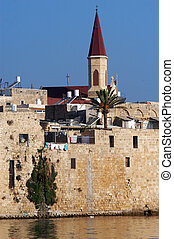 The wall of Acre in Akko Israel - An old church and the...