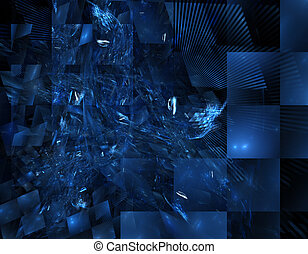 blue stained glass fractal - dark blue stain glass paned...
