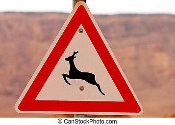 Road Signs - Deer Crossing - Deer Crossing road sign in the...