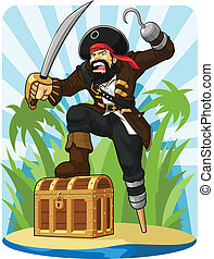 Pirate with His Treasure Chest - A vector image of a pirate...