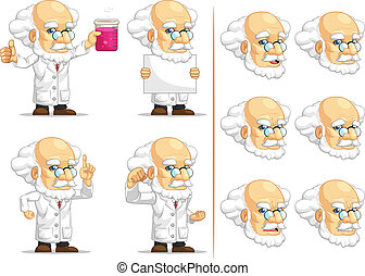 Scientist or Professor Mascot 3 - A vector set of...