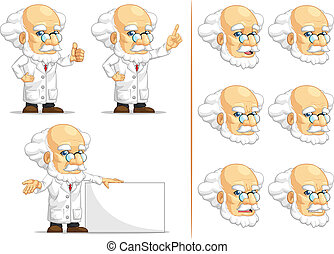 Scientist or Professor Mascot 6 - A vector set of...