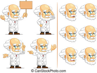 Scientist or Professor Mascot 8 - A vector set of...