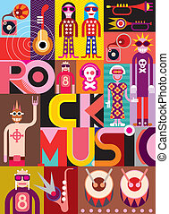 Rock Music - vector illustration - Rock Music. Musical...