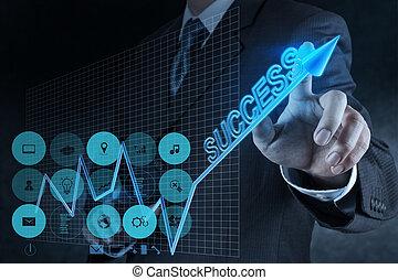 成功, 圖表, 實際上, 手, 接觸, 商人