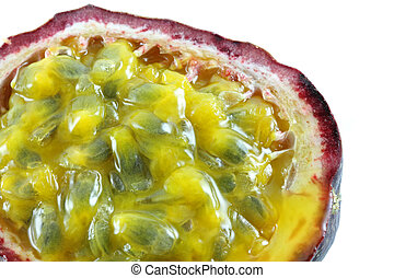 Granadilla (passion fruit) - Closeup photography of Ripe and...