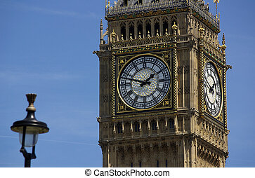 Big Ben in London in England on the blue background