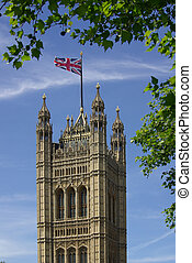 Houses of Parliament in London, England on a sunny summer...