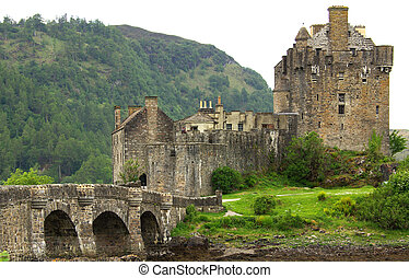 Castle Eilean Donan in Scotland in summer day