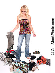 girl with clothes - one young blonde thin female looking...