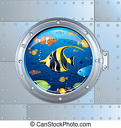 Cartoon Illustration. Porthole and Colorful Fishes