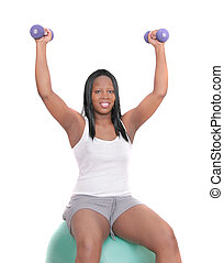 African American woman workout - one African American woman...