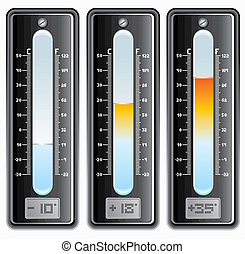 Thermometers with Celsius and Fahrenheit Scales