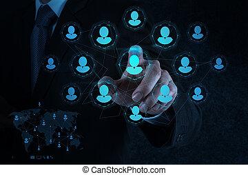 resurser, media, hand, pekar, mänsklig, social, affärsman,...