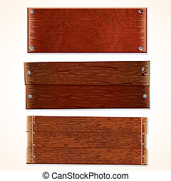 Illustration of Wooden Signs and Boards