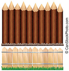 Illustration of Rural Wooden Fence.