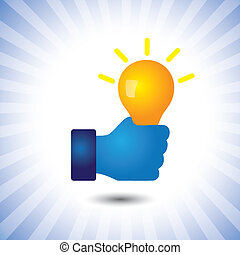 creative, smart & intelligent person with idea(bulb)- vector...